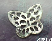 MOTHER OF PEARL: 18x20mm Mother of Pearl Carved Openwork Butterfly Component or Connector (1)