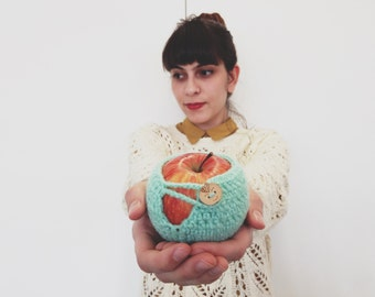 Crochet Apple Cozy - Light Mint with Wooden Button