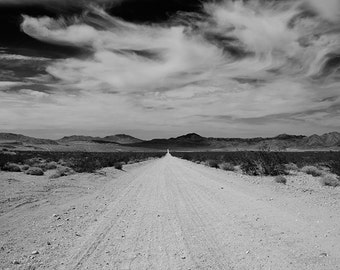 Black and White Landscape Photography, Rustic Landscape Photo, Rustic Decor, Black and White Wall Art, Road Photography, Mojave Desert