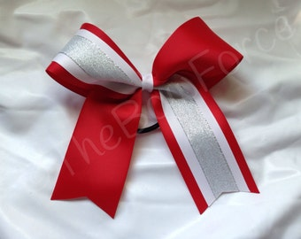 Red white silver Tick Tock cheer bow #200415411