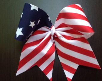 Red, White and blue Flag Cheer Bow