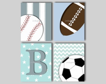 Baby Boy Nursery Art Baby Boy Sports Prints Sports Decor Sports Wall Art Football Print Baseball Print Sports Art - Choose Colors SP1905