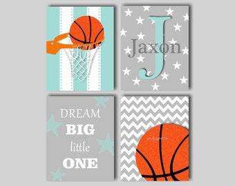 Baby Boy Nursery Art Boys Room Sports Art Basketball Art for Boys Basketball Print Boys Monogram Sports Nursery Decor Choose Colors - SPBB01