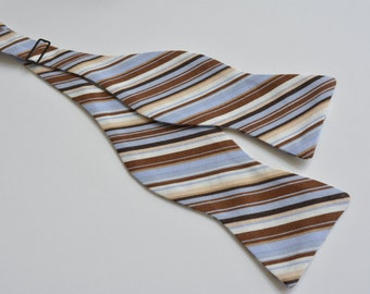 Bow ties for men,blue and brown stripes cotton,weddings,light blue weddings,blue and brown,wedding accessories
