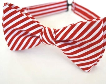 Red and white stripes bow tie for men