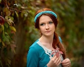 "Headband  ""Turquoise mood"",Flower crown, hair Accessories, flower for hair, 2014 trends, love,  for her, валентине, gift"