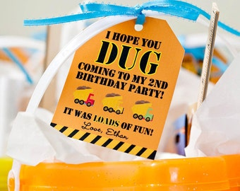 Construction Birthday Party -  DIY Printable Favor Tags