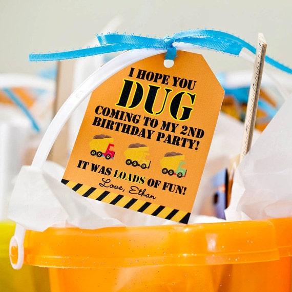 Construction Birthday Party DIY Printable Favor Tags