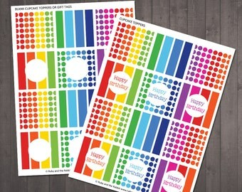 Rainbow Cupcake Toppers - PRINTABLE  Happy Birthday and Blank Rainbow Cake Toppers - INSTANT DOWNLOAD