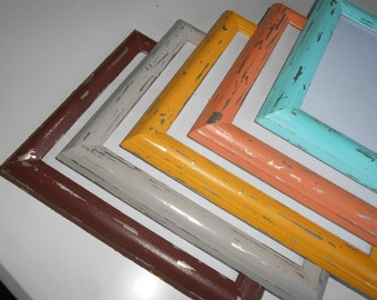 Upcycled, Distressed, Shabby Chic, Five, Picture Frames, Coral, Gray, Brown, Aqua, Yellow