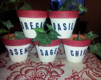 "ON SALE!!!  Clay herb pots-set of 5- 3.75"" x 3.50""?"