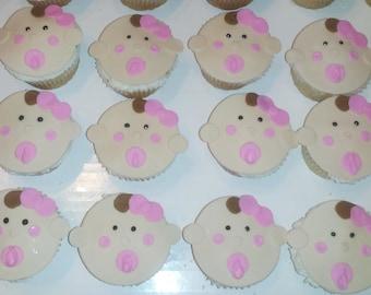 Custom handmade fondant baby face cupcake toppers