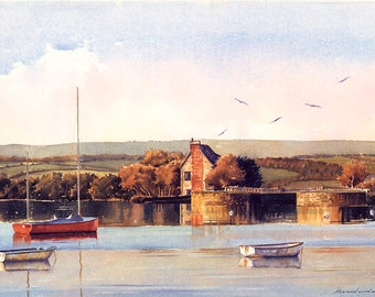 The Lock Cottage, Topsham, Devon, England. Print double mounted from an original watercolour by Marc Winstanley