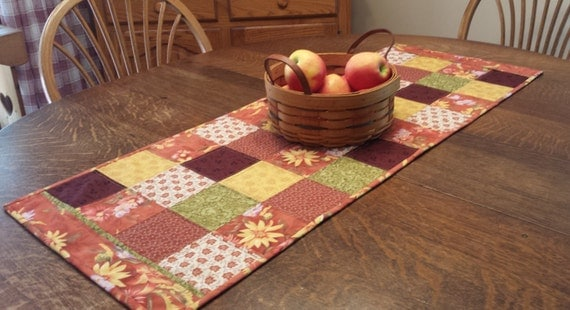 Quilted Fall Table Runner in earth tones of rust, yellow, cranberry and brown, Quilted Table Runner Quilted Runner Country Fall Table Runner