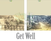 Get Well Note Cards Set Printable ~ Antique Victorian Scrap ~ Mother Sick Child Images Vintage Greeting Card Black White Aged Sepia
