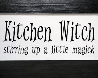 Kitchen Witch stirring up a little magick wood block