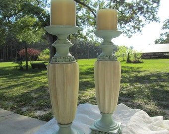 Shabby chic candle holders. Aqua Turquoise Candle Holder, candle stick, wedding candle, distressed paint,