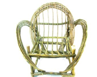 Wood Doll Chair, Doll Furniture, Toy Chair ,willow twig Doll Chair, Collectible,primitive furniture , Doll Beach Chair,wood chair,