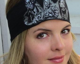 Zombie Headband, Zombies on Black Headband, Stretch headband, The Walking Dead Headband,  Michon Headband, Novelty Headband, Scary Headband