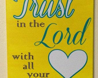 Scripture canvas, vinyl lettering, 11x14