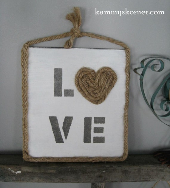 LOVE rustic gray/white hanging sign