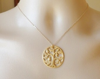 Gold Tree of Life Necklace - Hammered Gold Tree Necklace, Gold Plated Brass and Gold Filled Necklace - Bridal - Weddings - Mothers Day Gift