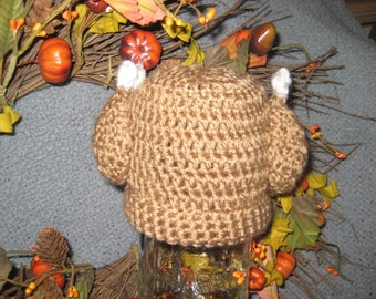 Newborn baby,crocheted brown, turkey hat, beanie for Thanksgiving, photo prop #A5