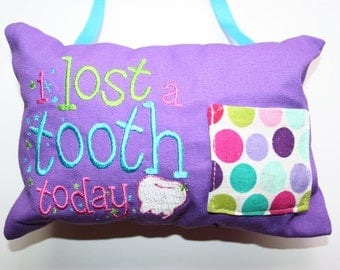 Tooth Fairy Pillow, I Lost a Tooth Today, Purple