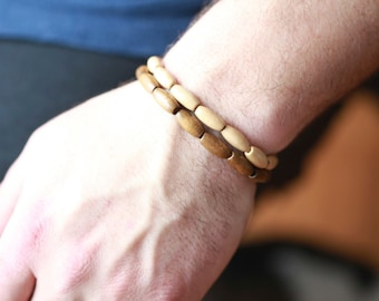 Mens wood Bracelet - Mens Bracelet - Beaded mens Bracelet