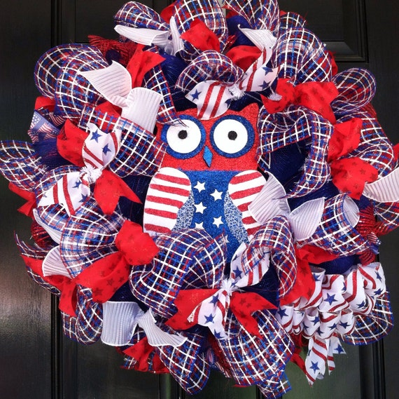 Large Mesh Ribbon Wreath Memorial Day Independence Day Labor Day Patriotic Red White Blue Stars and Stripes Owl Wreath