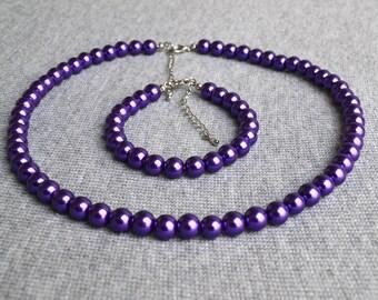 pearl set,purple pearl set,glass pearl set,pearl necklace,pearl bracelet,bridesmaid giftsBeaded Jewelry,wedding necklace, pearl necklace