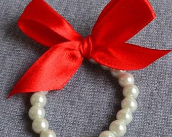 pearl Bracelet,Little Girl Pearl Bracelet , red ribbon for flower girls, toddler birthday, or babies photo prop, ribbon glass pearl