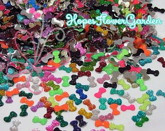 100 Piece ASSORTED Flat Back Mini Bow Resin for Bottlecaps, Scrapbooking, Nail Art, Deco. - Ships Next Day