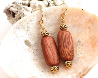 Wood and Gold Bead Earrings
