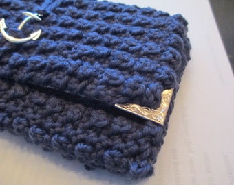 Crocheted nautical clutch