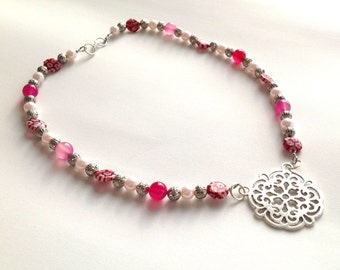 Pink agate and murano glass beaded necklace with filigree pendant