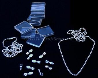 Glass Tile Pendant Necklace Pack - 10 (10 Glass Tile, 10 Bails, 10 Silver Necklaces). (KITSQBCCB)