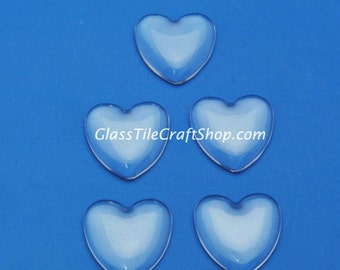 20 Heart Glass Cabochons, 25mm, Clear glass tiles for pendants, key chains. (1HRTCAB)