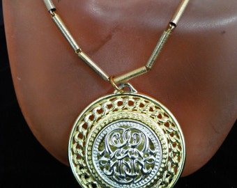 Vintage Two Toned Medallion Necklace