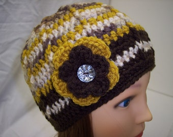 Woman's Crocheted Beanie in Brown and Gold