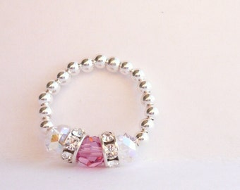 Ring, Stretch, Pink Swarovski Crystal Sterling Silver stretch ring, Made-To-Order, myblackrabbit, toe ring, jewelry, gift
