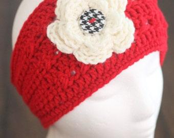 Ear warmer - womens - teen - headband - headwrap - flower ear warmer - crochet headband - winter accessory - gray