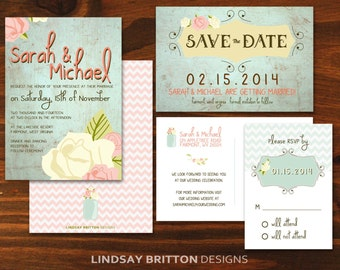 Vintage Wedding Invtiation, Save the Date, and RSVP Bundle
