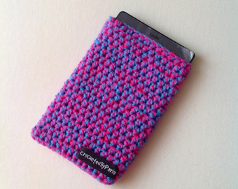 Handmade crochet Kindle cover, kindle sleeve, pink and blue crocheted cover ereader