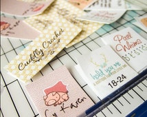 Fold-over Custom Fabric Labels or Tags — Custom Sizes — Your Logo Your Text — Custom Clip Art — 100% Cotton Colorfast Washable  — Uncut