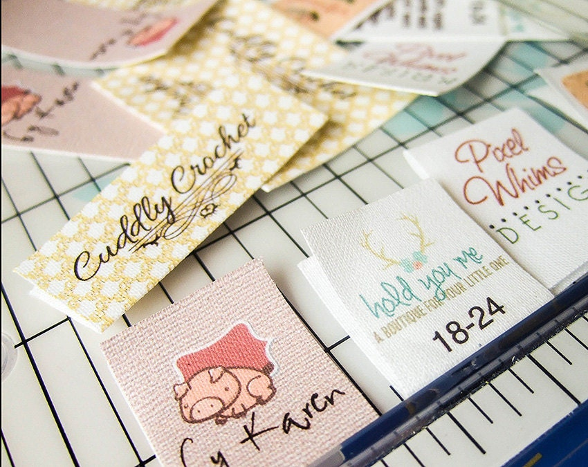 Fold over custom fabric labels or tags custom sizes your for Create fabric labels