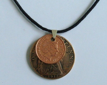 Handmade Black Waxed Cord Century Necklace Two British Pennies spanning One Hundred Years 1911 2011 History Coin Adjustable
