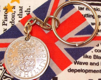 1955 Old English Shilling Coin Keyring Key Chain Fob Queen Elizabeth