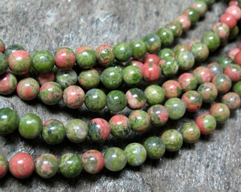 4 mm Unakite Beads, 16 inch strand - Item 41898