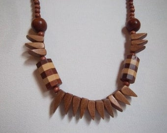 Vintage Wood Teeth Necklace